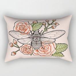 Cicada with Roses - Pink Rectangular Pillow