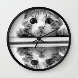 Cat reflected Wall Clock