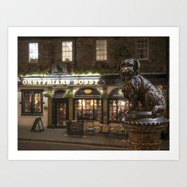 Bobby Greyfriars dog statue at night Edinburgh Scotland pub Kunstdrucke