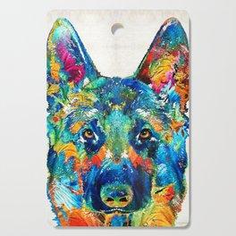 Colorful German Shepherd Dog Art By Sharon Cummings Cutting Board