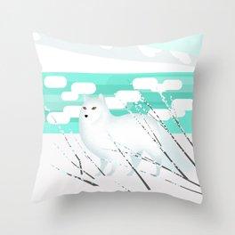 Arctic Fox - Cold but beautiful Throw Pillow