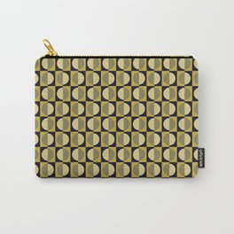 Geometric pattern with half-circles on squares in black, yellow-gold and ocher Carry-All Pouch