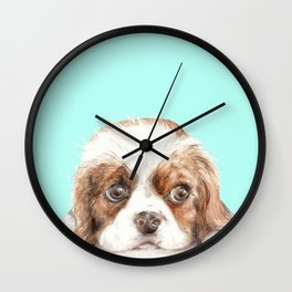 Cavalier King Charles Spaniel Dog Watercolor Pet Portrait Wall Clock