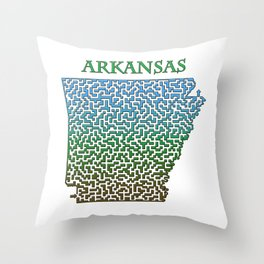 Arkansas State Outline Colorful Maze & Labyrinth Throw Pillow