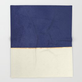 Navy Blue Gold Greige Nude Throw Blanket