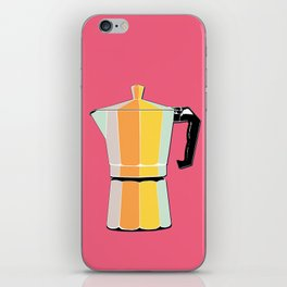 Retro Coffee Pot - Vintage Spring Colors on Conch Background iPhone Skin