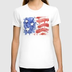 American Flag Watercolor Abstract Stars and Stripes Womens Fitted Tee White MEDIUM