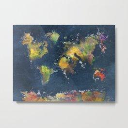 World Map blue splash Metal Print