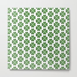 Hearts Clover Pattern Metal Print