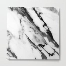 Ebony Black And Ivory White Faux Marble Art Metal Print