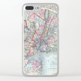 Antique New York City Map Clear iPhone Case