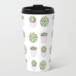 Green and pink suculents in flowerpots Travel Mug