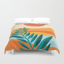 Mountain Sunset / Abstract Landscape Illustration Duvet Cover