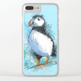 Inky Puffin Clear iPhone Case