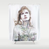 breathe Shower Curtains featuring Breathe in, breathe out by agnes-cecile