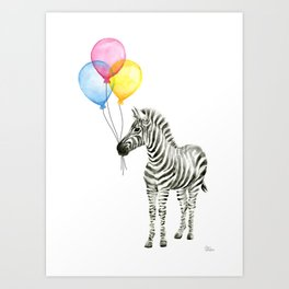 Zebra with Balloons Watercolor Baby Animals Art Print