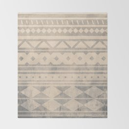 Ethnic geometric pattern with triangles circles shapes and lines Throw Blanket
