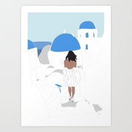 Fashion Travel Girl Wandering the Steps of Santorini, Greece Art Print