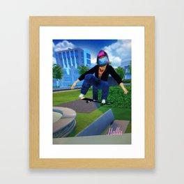 New Autographed print  of Hallie skatboarding Framed Art Print