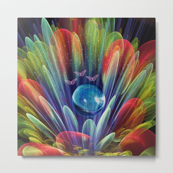 Dream world with butterflies, fractal mixed media art Metal Print
