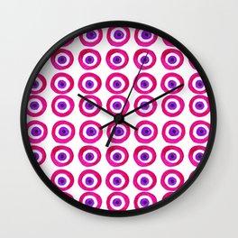 Evil Eye Amulet Talisman in Pink Wall Clock
