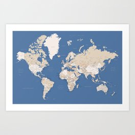 Blue and brown world map with cities Art Print