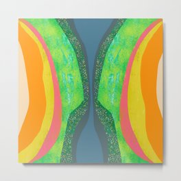 Shapes and Layers no.25 - Abstract painting Blue, Green, pink, yellow orange Metal Print