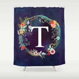 Personalized Monogram Initial Letter T Floral Wreath Artwork Shower Curtain