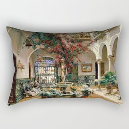 Interior Courtyard Seville Spain by Manuel Garcia Y Rodriguez Rectangular Pillow