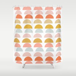 Geometric Half Circles Pattern in Earth Tones Shower Curtain