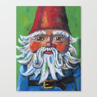 gnome Canvas Prints featuring Garden Gnome  by Juliette Caron