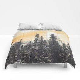 Orange Skys Above the Pines Comforters