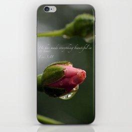 Pink Rosebud with scripture. iPhone Skin