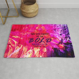 CALLED TO BE BOLD Floral Abstract Christian Typography Scripture Jesus God Hot Pink Purple Fuchsia Rug