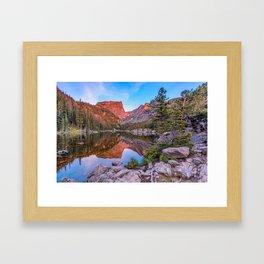 Sunrise on Hallet Peak - Dream Lake - Rocky Mountain National Park Framed Art Print