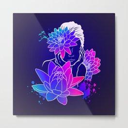 Neon Lotus Metal Print