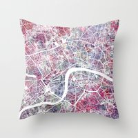 london map Throw Pillows featuring London map by MapMapMaps.Watercolors
