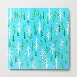 Christmas Trees White Green Light Blue Background  Metal Print