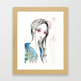 La Fille aux Cercles Rouges Framed Art Print