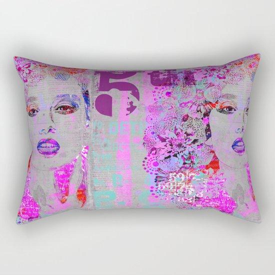 Flower Girl mixed media art grey pink Rectangular Pillow