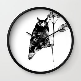 Owl and the flower Wall Clock