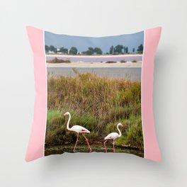 Flamingos in Camargue Throw Pillow