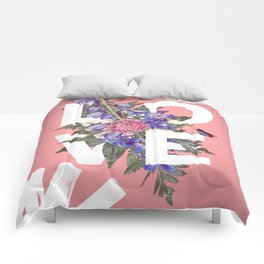 Floral Love Typography Comforters