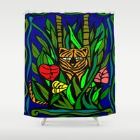 murakami Shower Curtains featuring Peeking Tiger  by Marcy Murakami