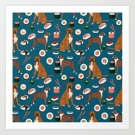 Boxer dog pattern sushi dog lover pet portraits boxers dog breed by pet friendly Art Print