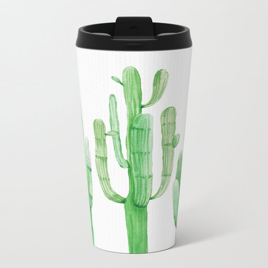 Three Amigos Cacti Green Metal Travel Mug