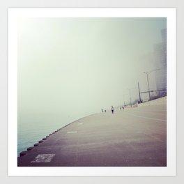 Lake Shore Path in Fog Art Print