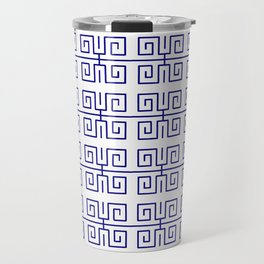 Antic pattern 22- roman or greek pattern - blue Travel Mug