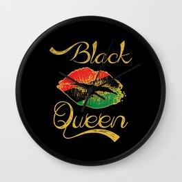 Black Queen Lip American African Flag Confetti Gift Wall Clock