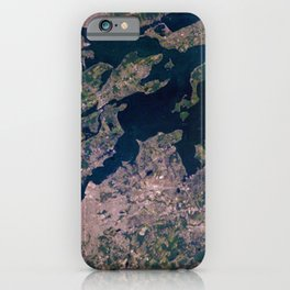 Providence, Newport, Narragansett Bay, Rhode Island Satellite Photograph iPhone Case